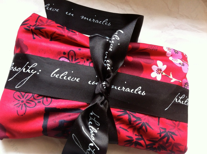 Red fabric wrapping