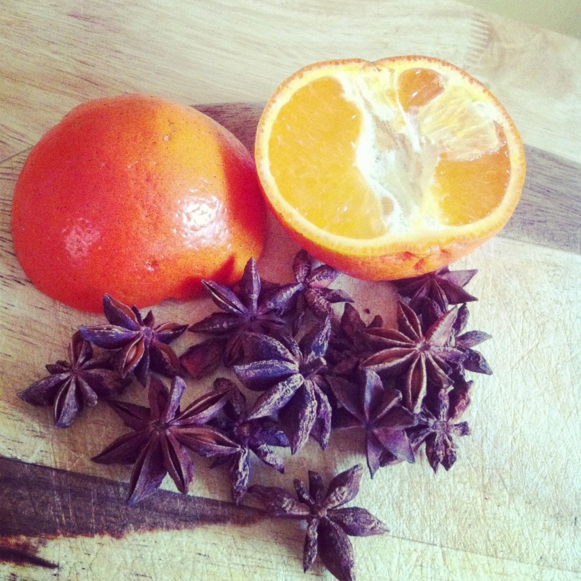 Tangerine and star anise pods